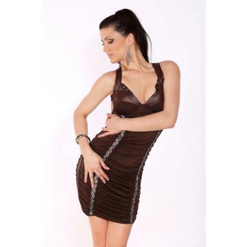 Sukienka marszczona z cyrkoniami srebrnymi z przodu-brązowy ciemny